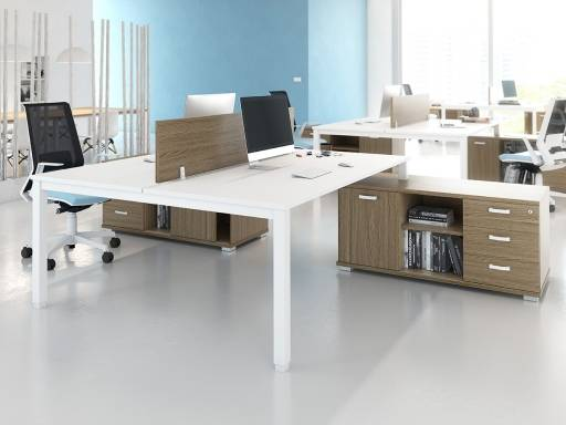 Deskissimo Bureau double sur meubles de rangements AKKA pas cher