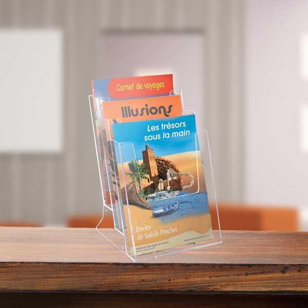 Edimeta Porte-brochures Comptoir 2 cases 1/3 A4 côte à côte