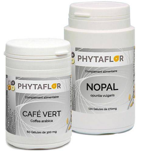 PHYTAFLOR Pack Minceur Café vert + Nopal en gélules. - contenance : 1 mois de cure