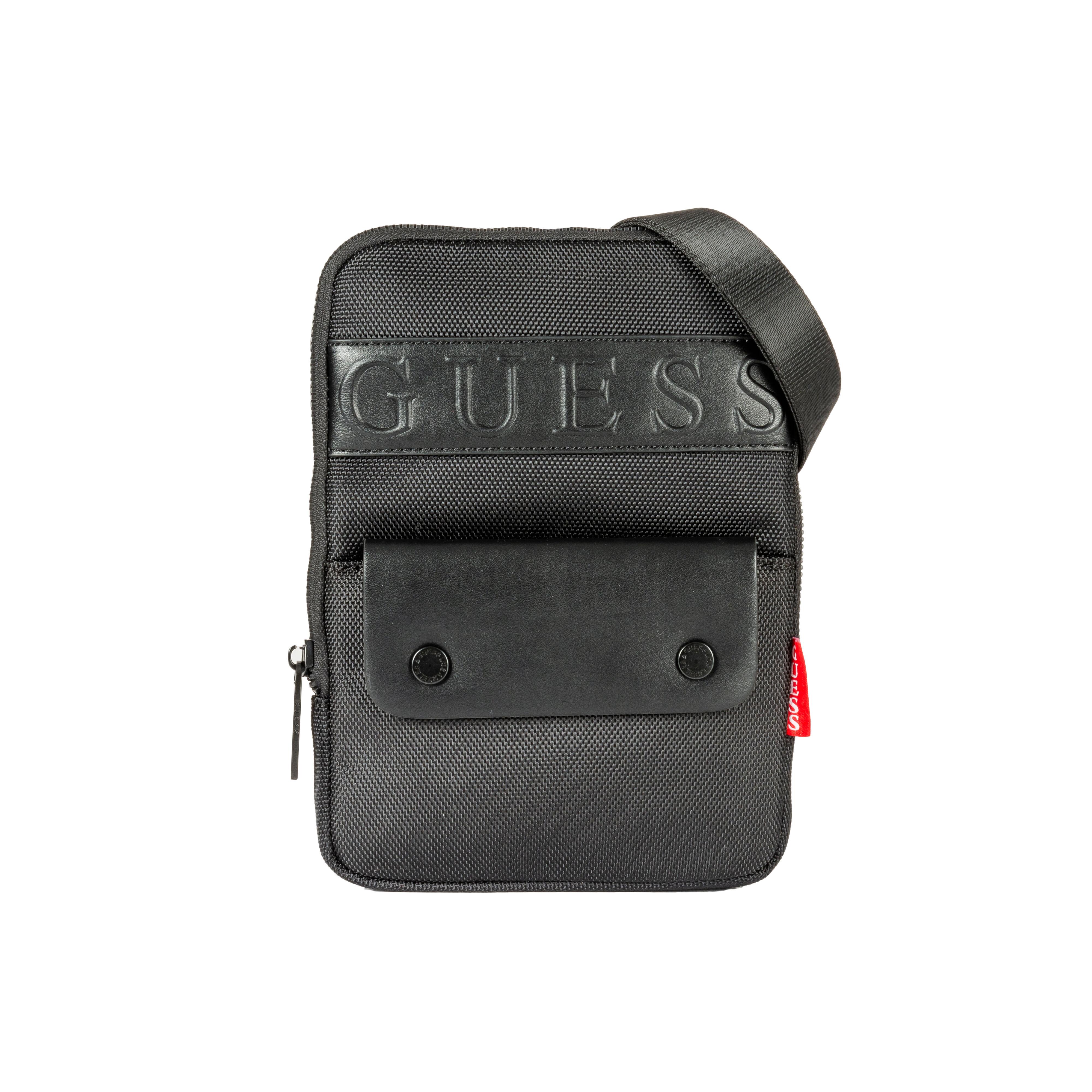 Guess Accessoires Sacoche à bandoulière Guess plate noire texturée - NOIR -