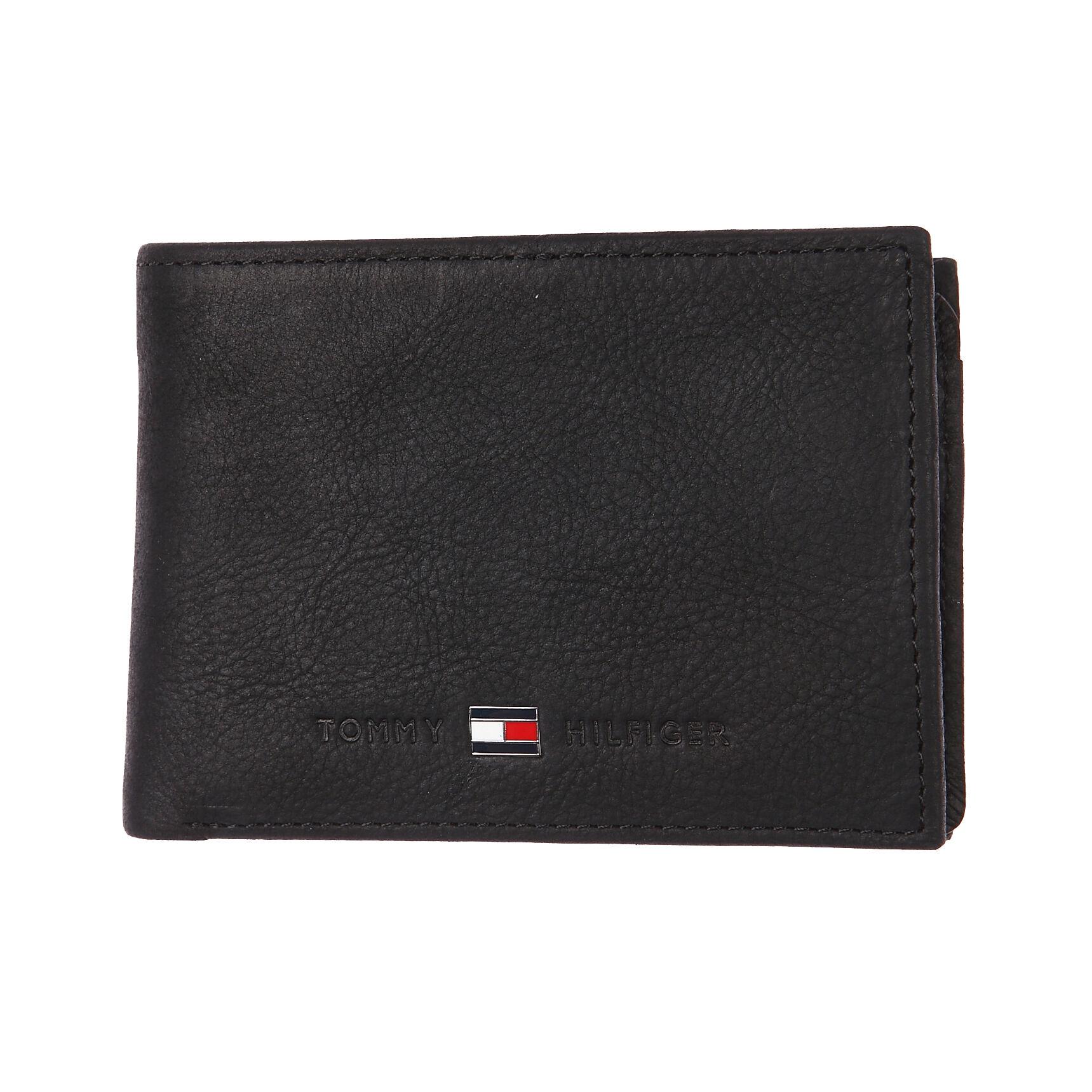 Tommy Hilfiger Accessoires Petit portefeuille italien Johnson Mini Tommy Hilfiger en cuir grainé noir - NOIR -