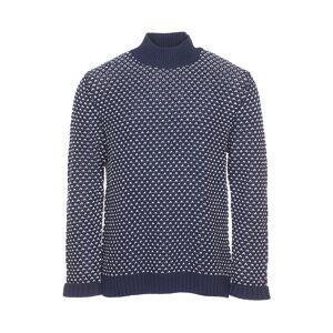 Tommy Jeans Pull col rond Tommy Jeans Chunky Pattern en coton mélangé bleu marine et blanc à grosses mailles - BLEU - XL