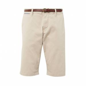 Tom Tailor Short Tom Tailor Essential Chino en coton stretch beige à ceinture marron - BEIGE - 29