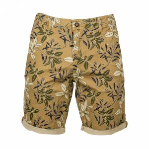 Jack & Jones Short chino Jack & Jones Bowie en coton stretch vert kaki à fleurs beiges et noires - KAKI - M