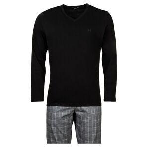 Hom Pyjama long HOM Benjamin en coton : tee-shirt manches longues col V noir et pantalon à carreaux gris - NOIR - L - Publicité