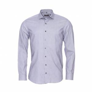 Eterna Chemise droite Eterna en coton gris à fines rayures noires et petits motifs carrées - GRIS - 38