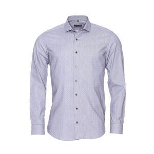 Eterna Chemise droite Eterna en coton gris à fines rayures noires et petits motifs carrées - GRIS -