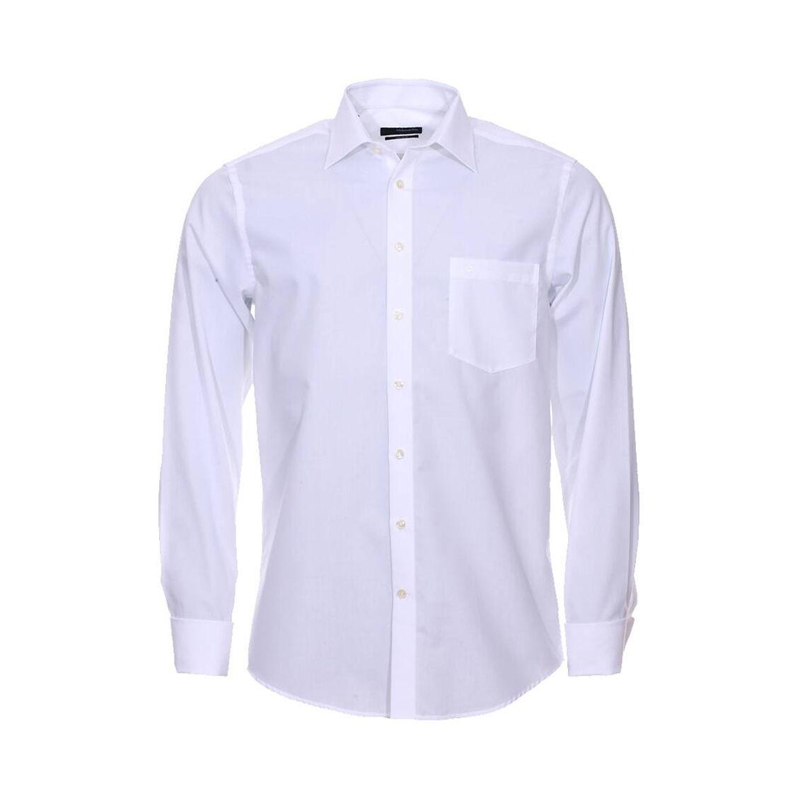 Seidensticker Chemise droite Seidensticker en coton blanc à poignets mousquetaires Sans repassage - BLANC -