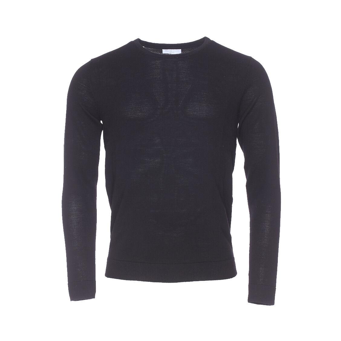 Selected Pull col rond Selected en laine Mérinos noire - NOIR - S