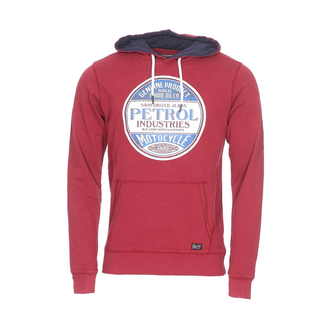 Petrol Industries Sweat à capuche Petrol Industries en coton mélangé bordeaux floqué - ROUGE - XL