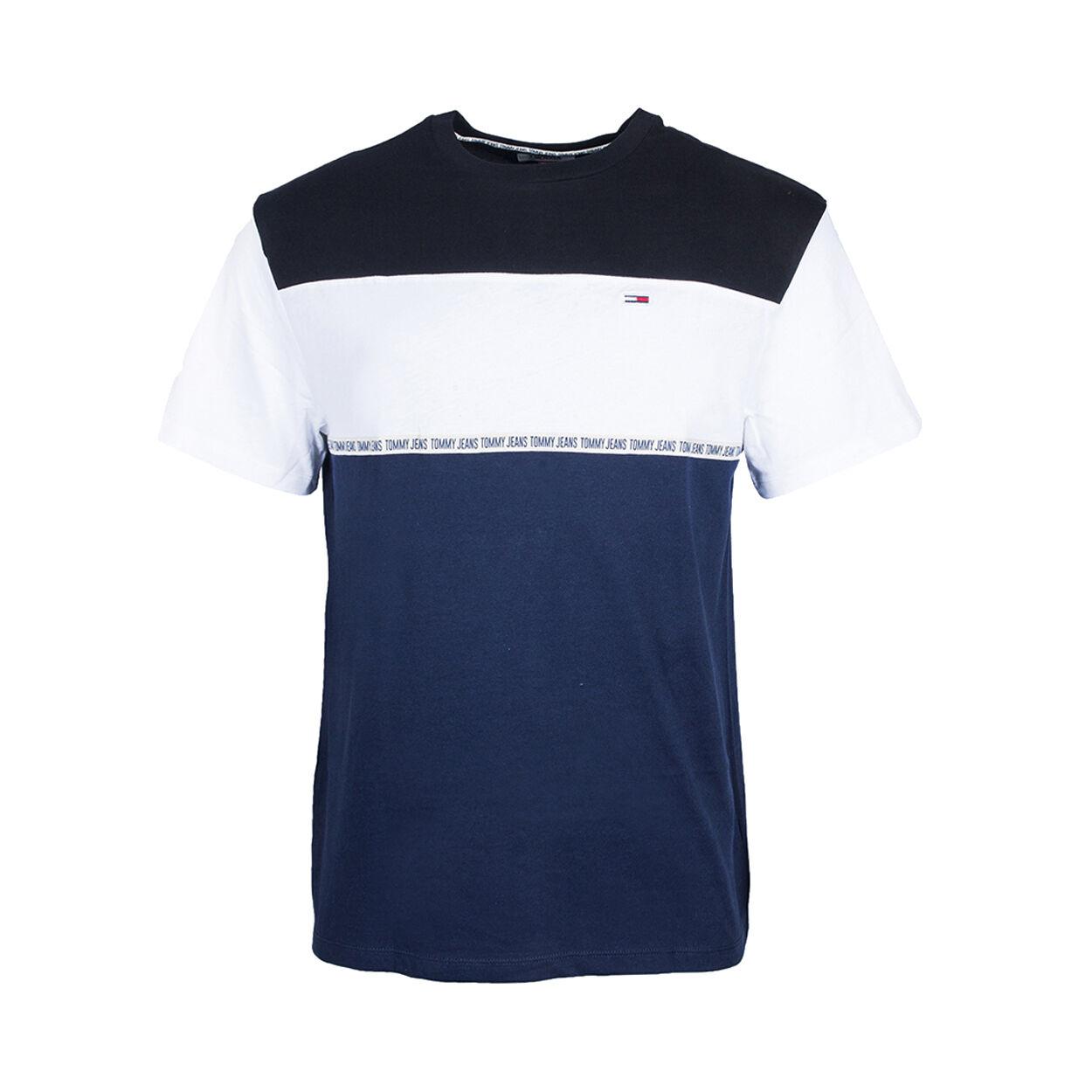 Tommy Jeans Tee-shirt col rond Tommy Jeans Colorblocked Tape en coton bleu marine à épaules noires et bande blanche à la poitrine - BLEU - XL