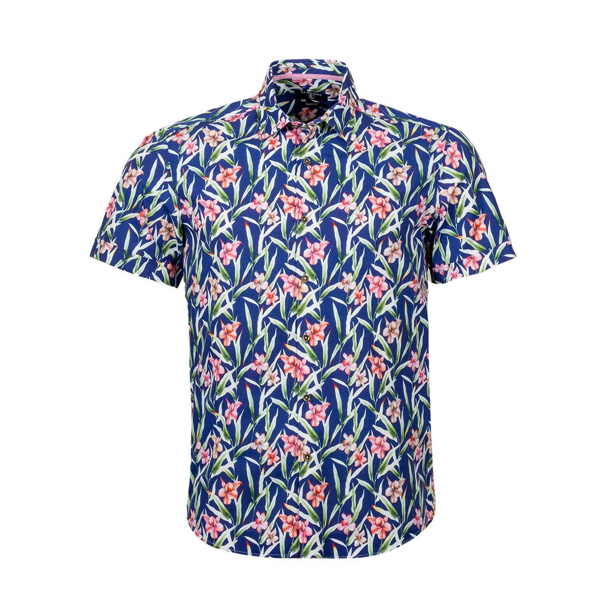 La Squadra Chemise manches courtes coupe droite La Squadra en coton bleu marine à motifs fleuris rose et feuilles vertes - Bleu - XL