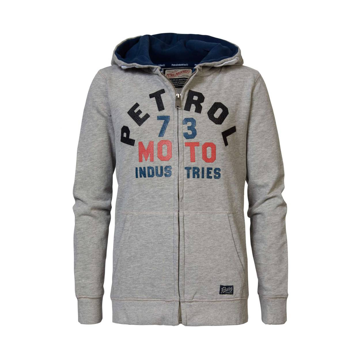 Petrol industries Junior Sweat zippé à capuche Petrol industries Junior en coton gris chiné floqué - GRIS -