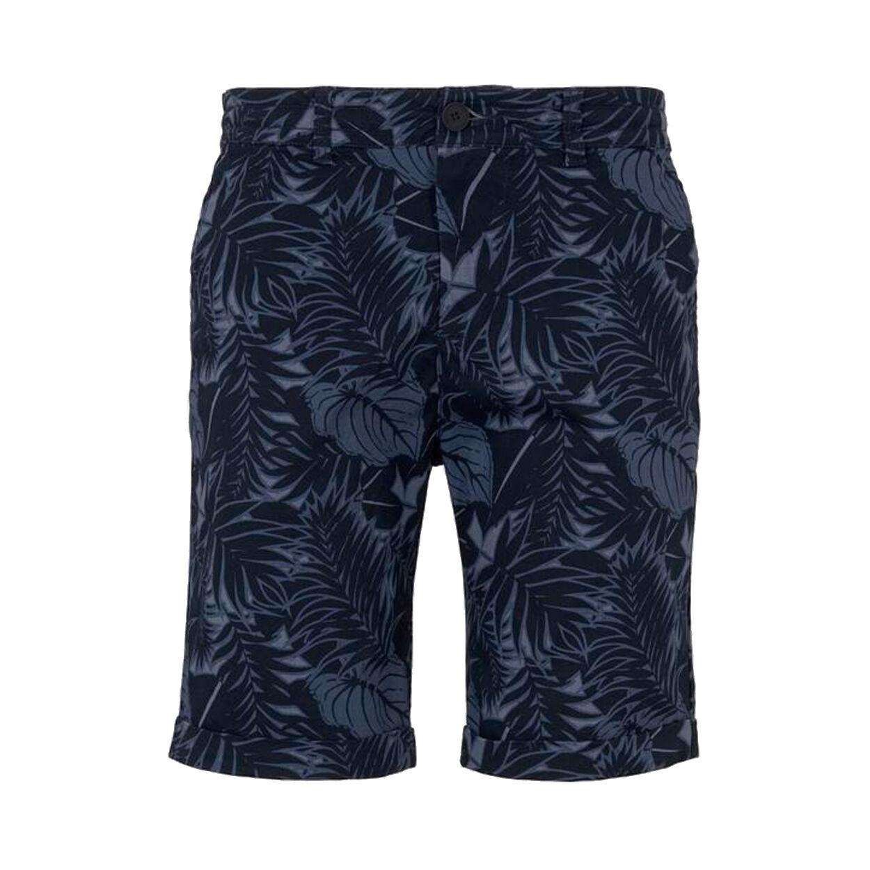 Tom Tailor Short Chino Tom Tailor en coton stretch bleu marine à fleurs noires - BLEU MARINE - S