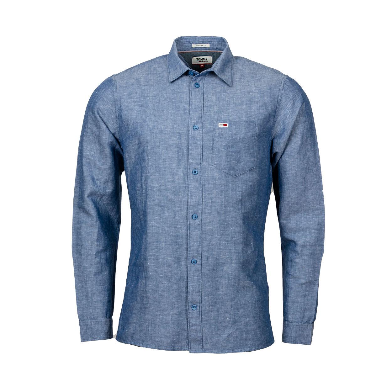 Tommy Jeans Chemise coupe droite manches longues Tommy Jeans Linen Blend en lin bleu effet denim - BLEU - M
