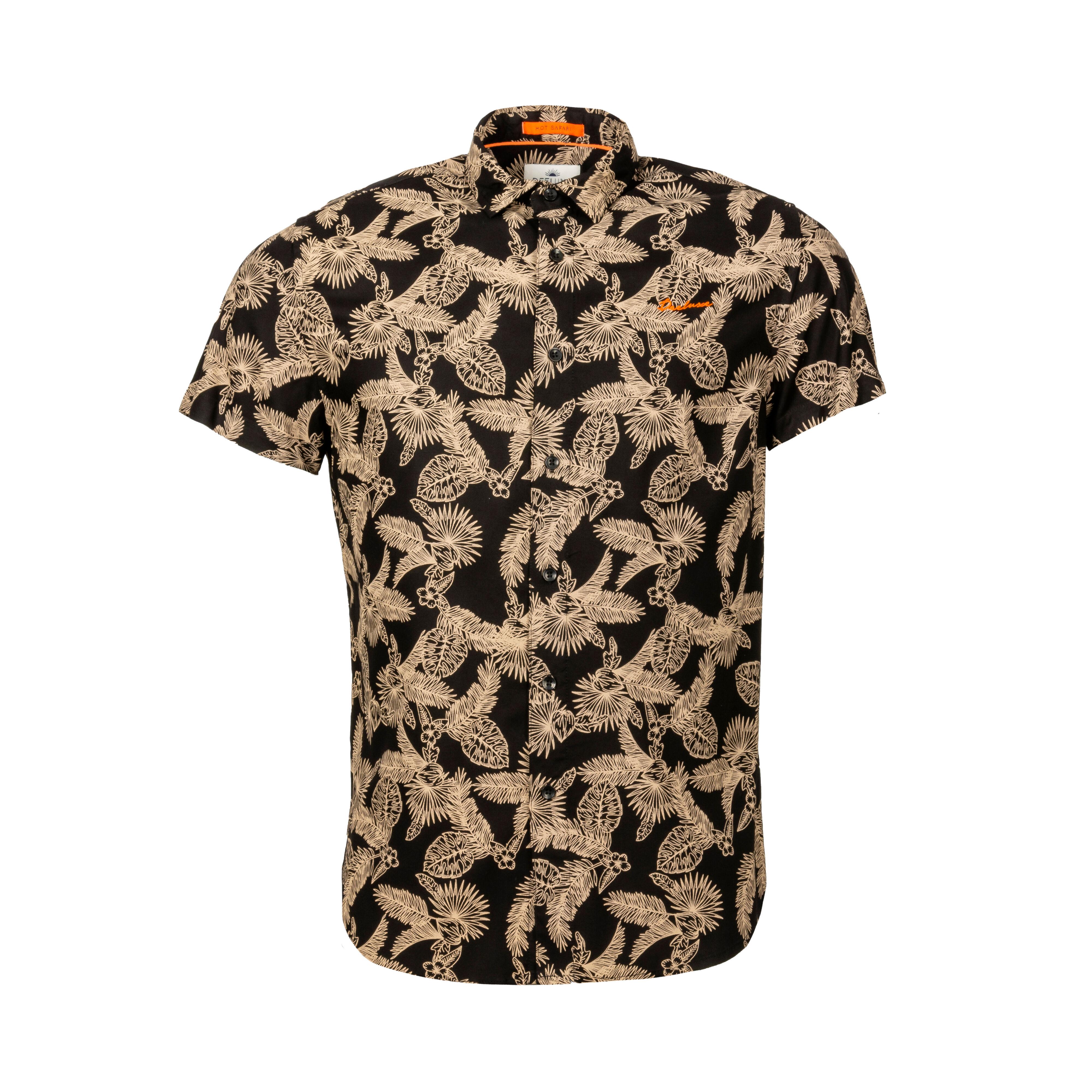 Deeluxe Est. 74 Chemise manches courtes coupe droite Deeluxe Haley en coton mélangé noire à impression beige - NOIR -