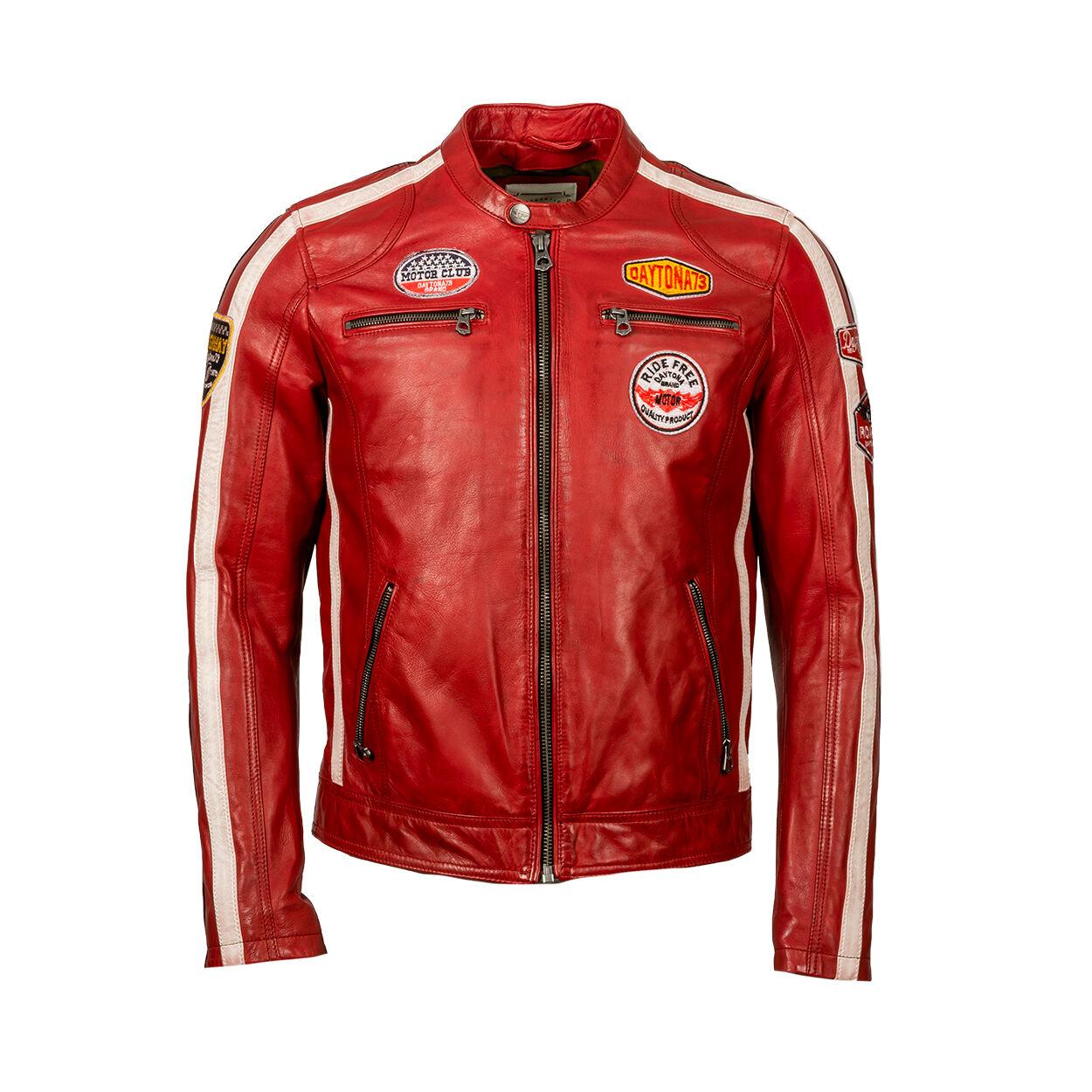 Daytona 73 Blouson motard Daytona73 Nentley en cuir rouge - ROUGE -