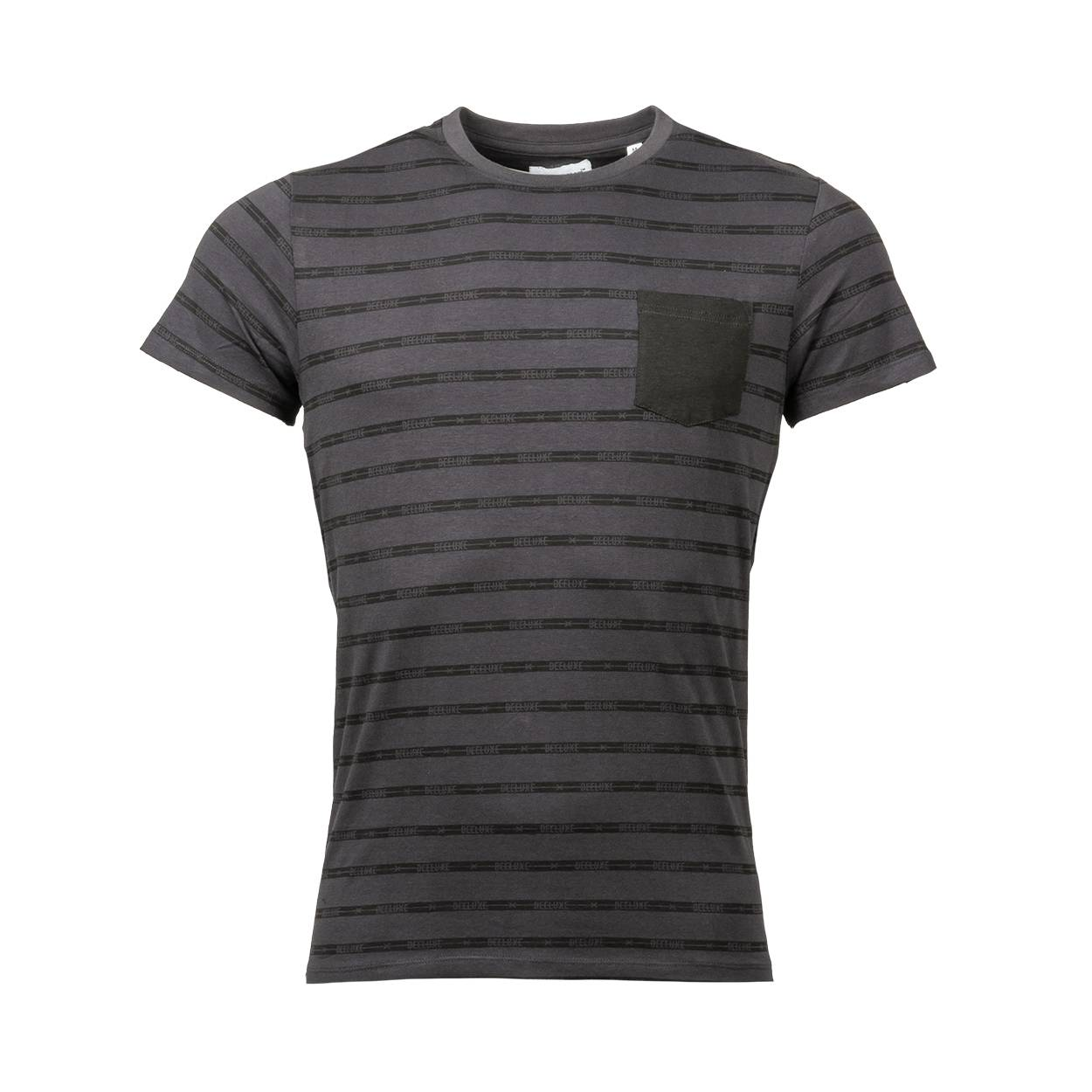 Deeluxe Est. 74 Tee-shirt col rond Deeluxe Est. 74 Closed en coton stretch gris anthracite à rayures noires - GRIS ANTHRACITE - S