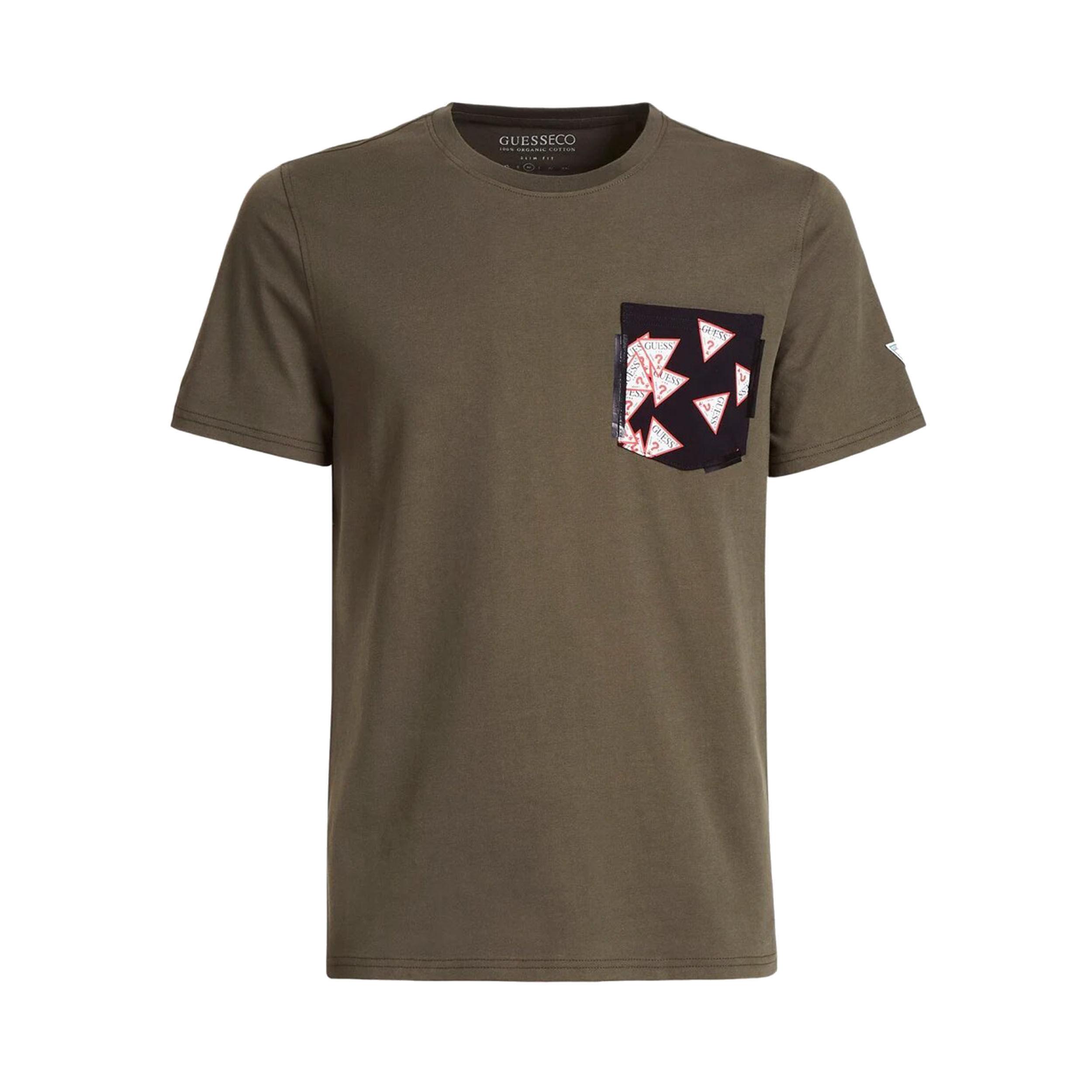 Guess Jeans Tee-shirt col rond Guess en coton vert kaki à poche noire floquée - VERT KAKI -