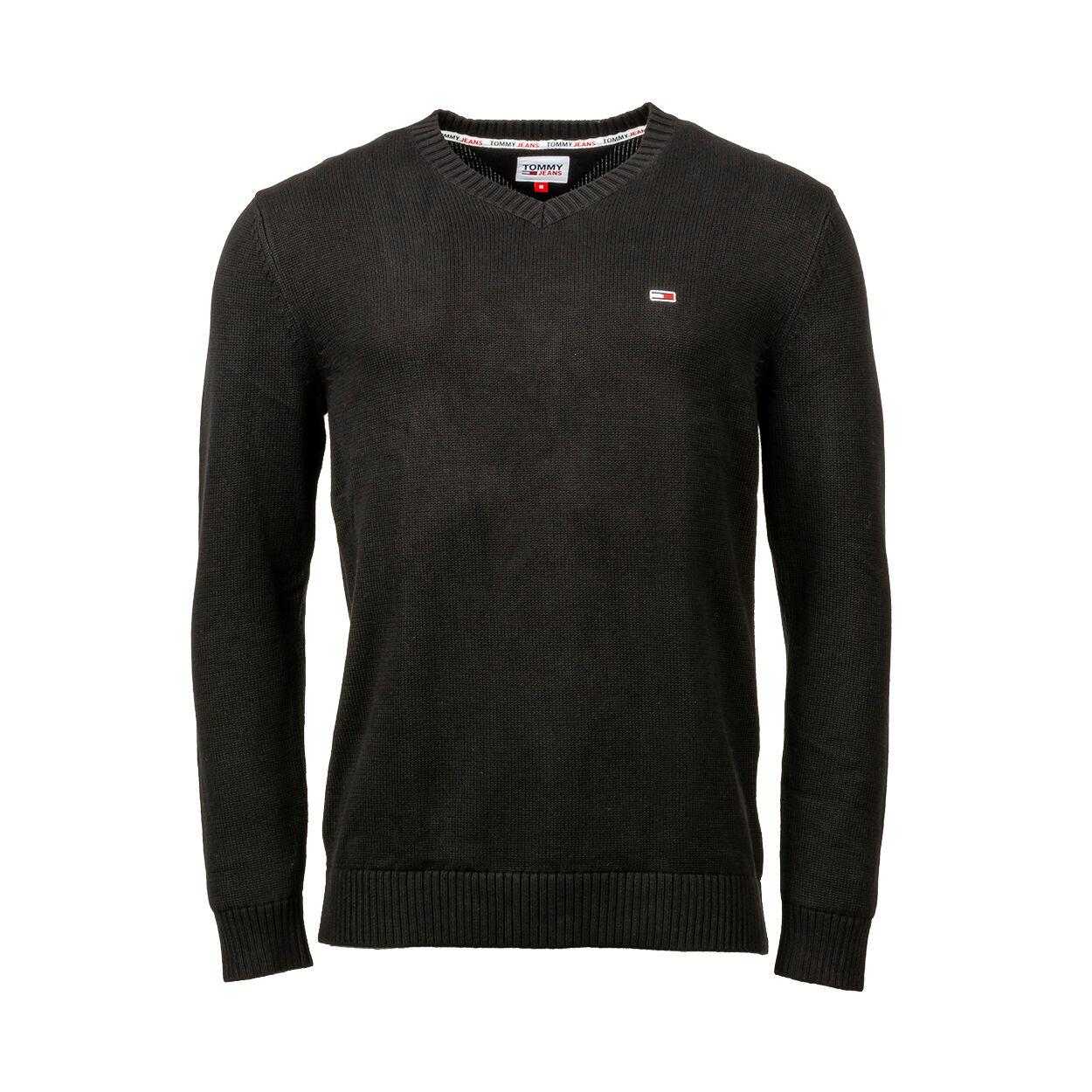 Tommy Jeans Pull col V Tommy Jeans Essential en coton bio noir - NOIR -