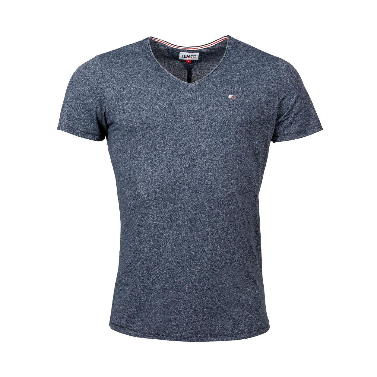 Tommy Jeans Tee-shirt col V Tommy Jeans en coton bio mélangé bleu marine chiné - BLEU MARINE - L