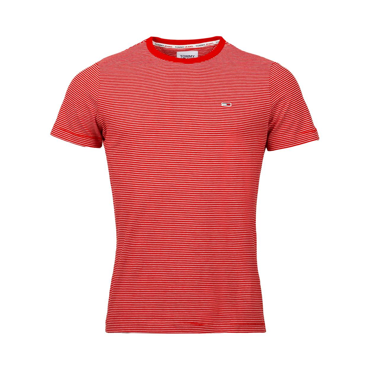 Tommy Jeans Tee-shirt col rond Tommy Jeans Essential en coton bio rouge à rayures blanches - ROUGE BLANC -