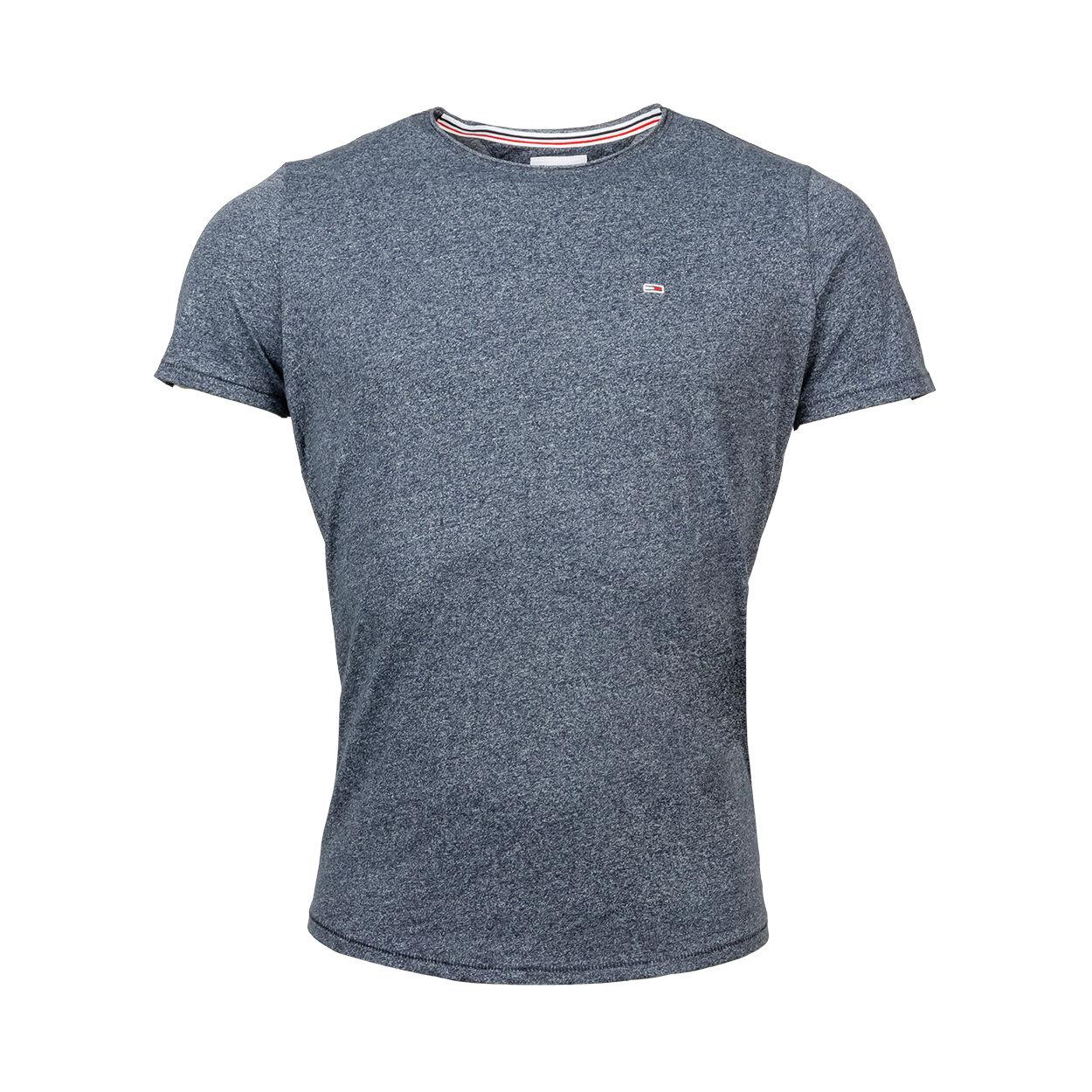 Tommy Jeans Tee-shirt col rond Tommy Jeans en coton bio mélangé bleu marine chiné - BLEU MARINE - XL