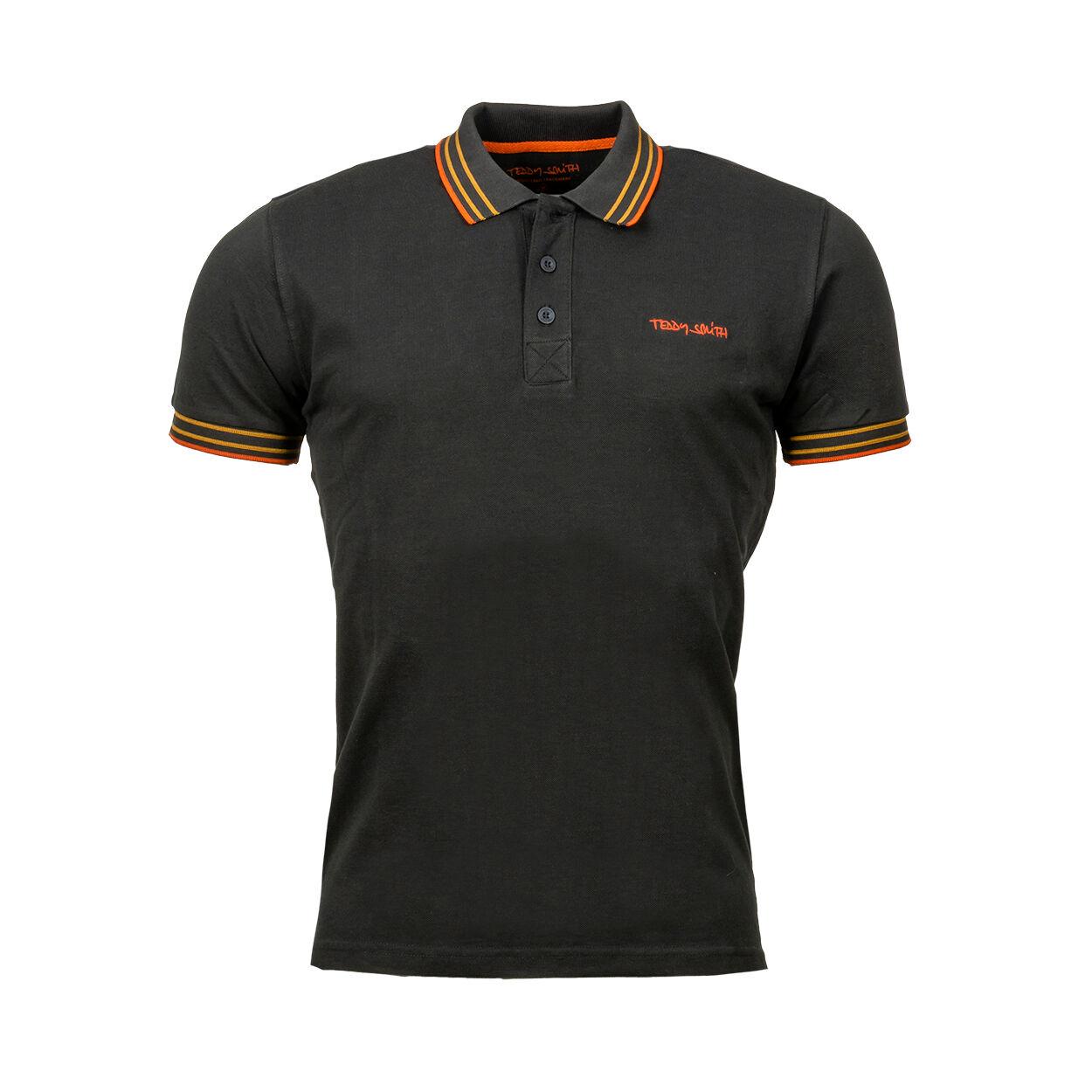 Teddy Smith Polo à manches courtes Teddy Smith Pasian en coton noir charbon à détails orange - Noir charbon - L