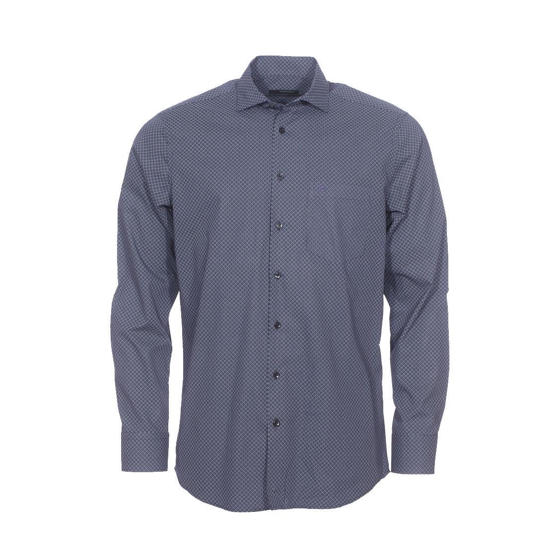 Seidensticker Chemise droite Seidensticker en coton bleu marine à petits carrés blancs et petits motifs gris anthracite - BLEU - 39