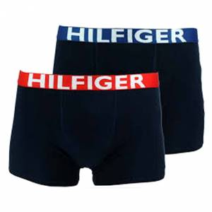 Tommy Hilfiger Junior Lot de 2 boxers Tommy Hilfiger Junior en coton stretch bleu marine à ceinture bleu roi et rouge - BLEU - 10 - 12 ans
