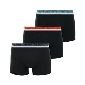 Athena Lot de 3 boxers Athena en jersey de coton biologique stretch noir à ceinture bleu marine, bleu turquoise et orange - NOIR - XXL