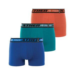 Athena Lot de 3 boxers Athena Pulse en jersey de coton stretch bleu roi, bleu émeraude et orange à ceinture brodée - ORANGE -