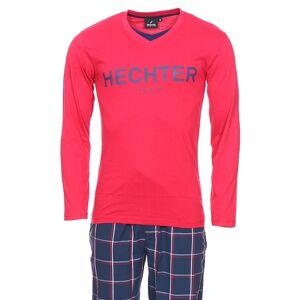 Hechter Studio Pyjama long Hechter Studio Party en coton : tee-shirt manches longues à double col V en jersey rouge et pantalon en popeline bleu marine à carreaux - ROUGE -