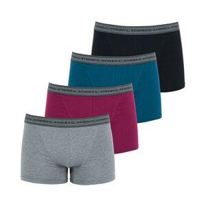 Athena Lot de 4 boxers Athena en coton stretch gris chiné, prune, bleu pétrole et noir - GRIS - XXL