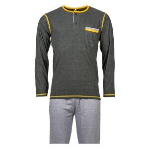 Christian Cane Pyjama long Christian Cane Sebastien en coton : tee-shirt col tunisien manches longues noir et pantalon en pied de poule noir et blanc - NOIR - L