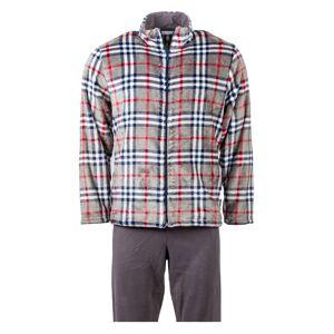Christian Cane Pyjama long Christian Cane Sting : veste zippée beige à carreaux blancs, bleu nuit et rouges et pantalon marron - GRIS -