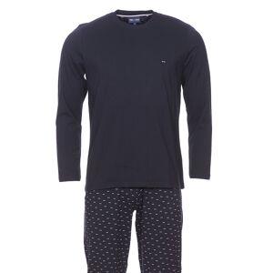 Eden Park Underwear Pyjama long Eden Park en coton : Tee-shirt manches longues bleu marine et pantalon bleu marine à petits n?uds rose pâle - BLEU -