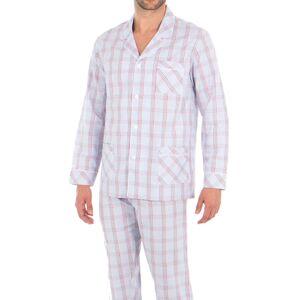 Eminence Pyjama long Eminence Héritage : veste et pantalon en popeline de coton blanche à carreaux bleu indigo, rouges et marron - BLANC -