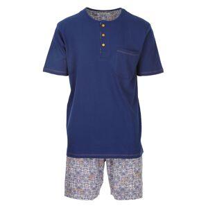Christian Cane Pyjama court Christian Cane Obispo en coton : tee-shirt col tunisien bleu marine et short blanc à imprimés graphiques bleu marine - BLEU -