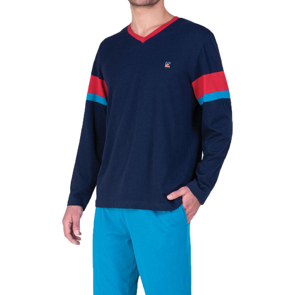 Eminence Pyjama long Eminence A vos marques en coton : tee-shirt manches longues col V bleu marine à bandes rouges et bleu cobalt et pantalon bleu cobalt - BLEU -