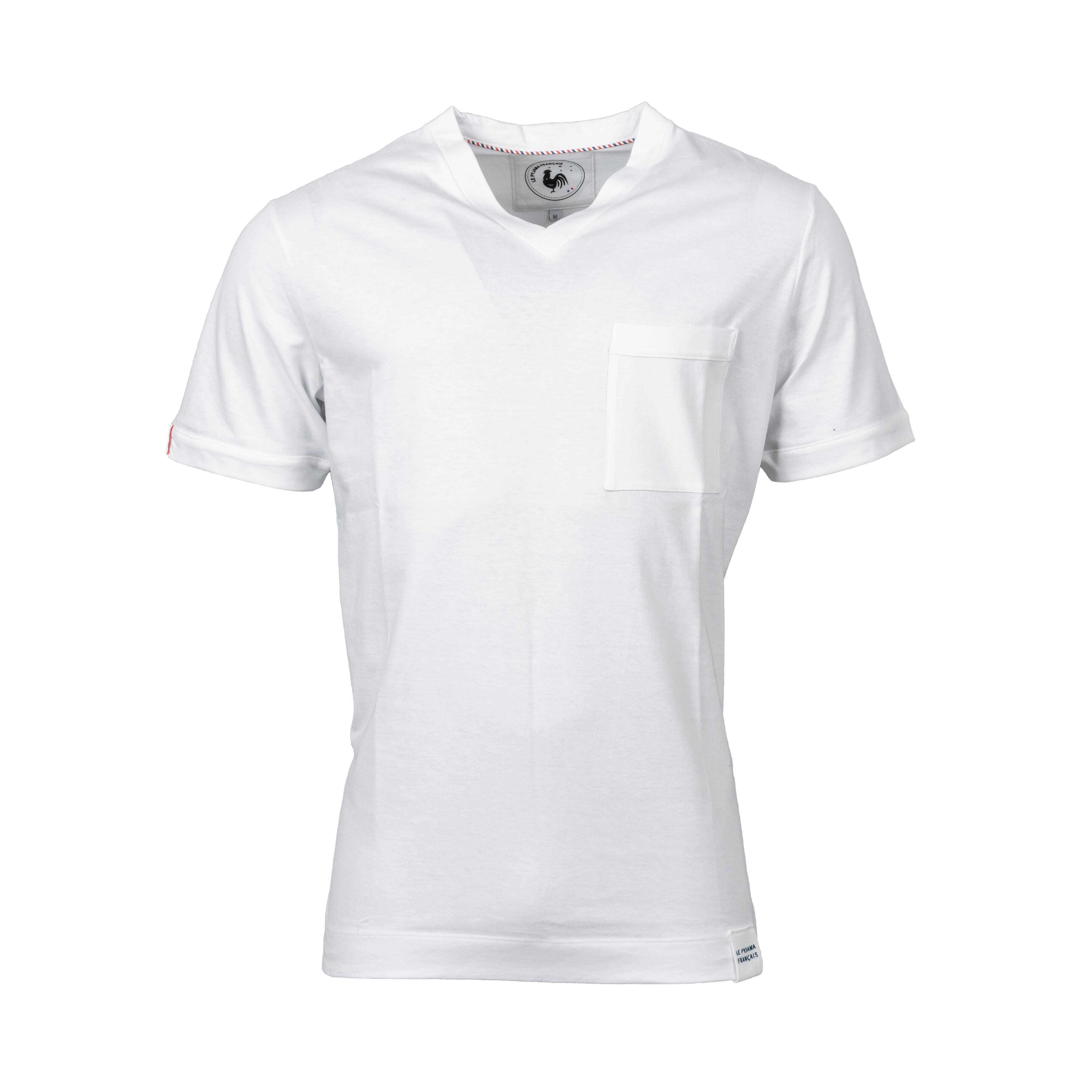 Le Pyjama Français Tee-shirt de pyjama col V Made in France Le Pyjama Français en coton blanc - BLANC -
