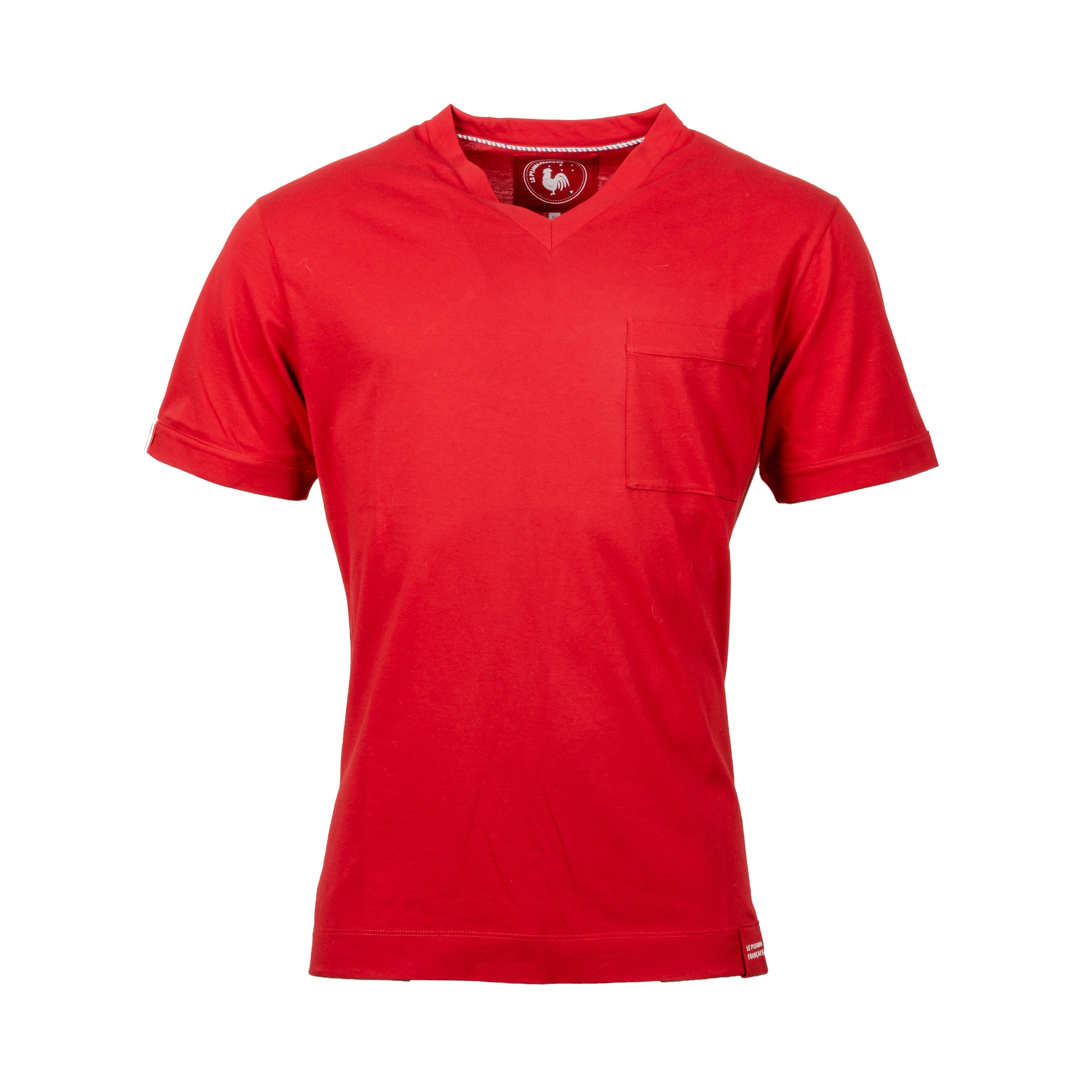 Le Pyjama Français Tee-shirt de pyjama col V Made in France Le Pyjama Français en coton rouge - ROUGE - M