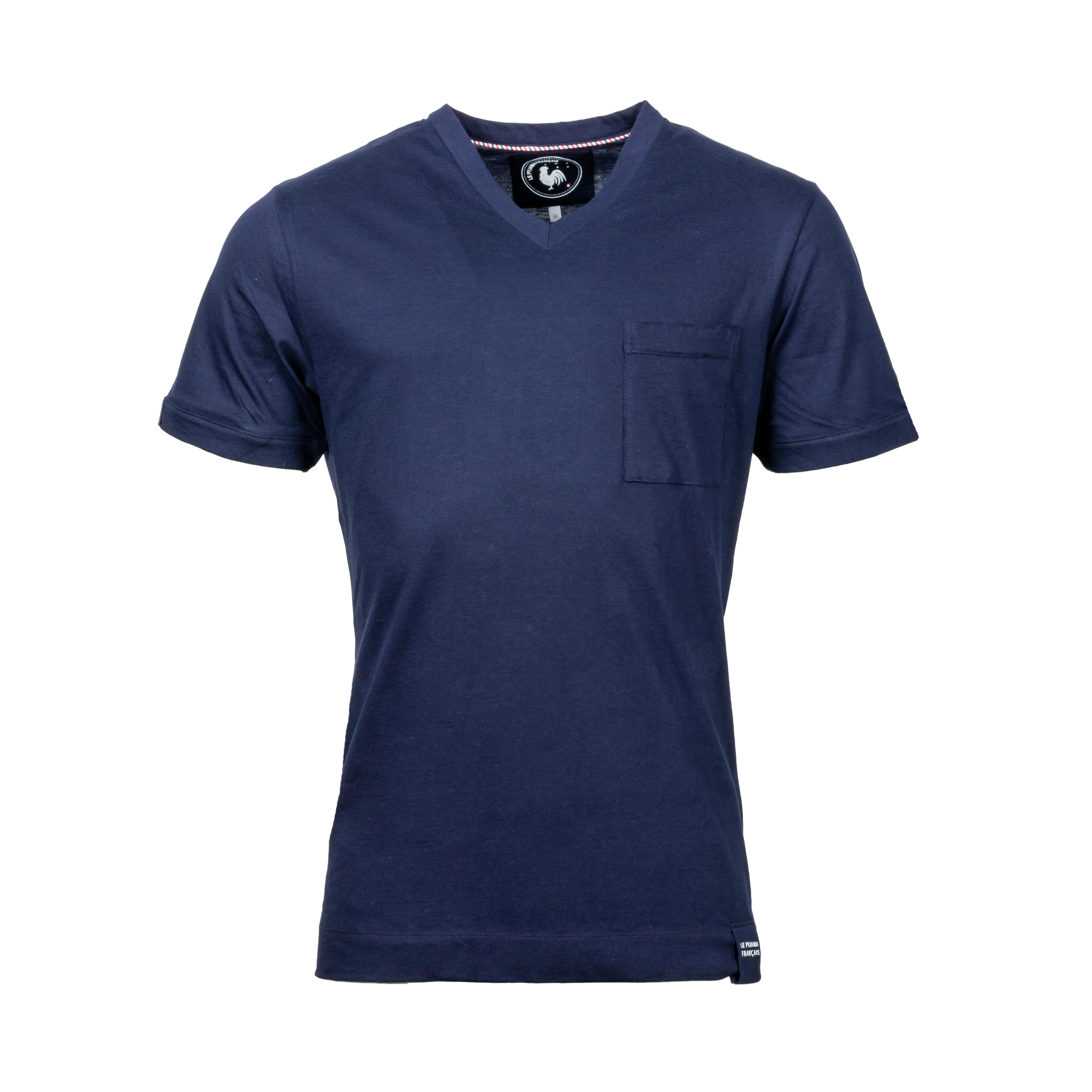 Le Pyjama Français Tee-shirt de pyjama col V Made in France Le Pyjama Français en coton bleu marine - BLEU - L