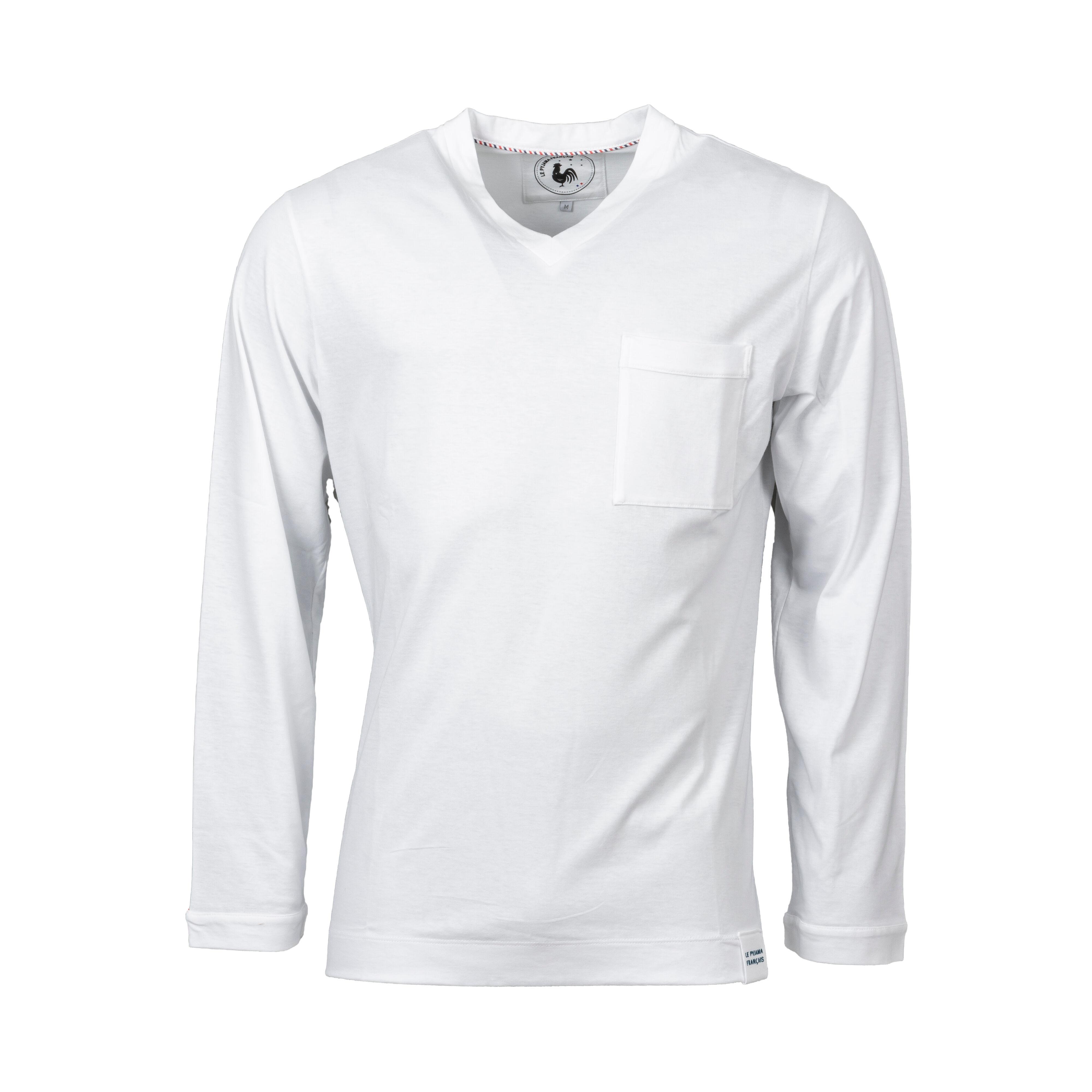 Le Pyjama Français Tee-shirt de pyjama manches longues Made in France Le Pyjama Français en coton blanc - BLANC - L