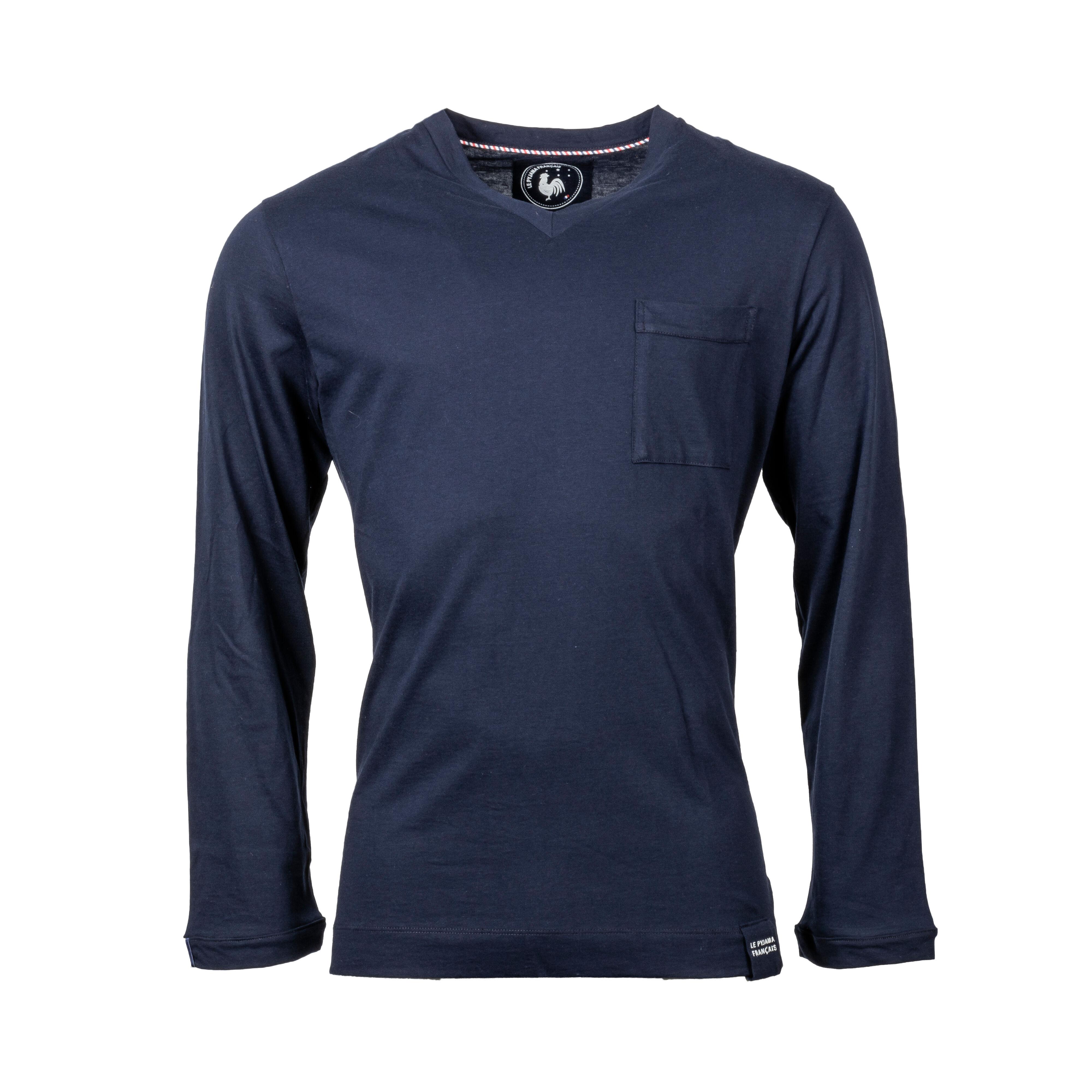 Le Pyjama Français Tee-shirt de pyjama manches longues Made in France Le Pyjama Français en coton bleu marine - BLEU - L