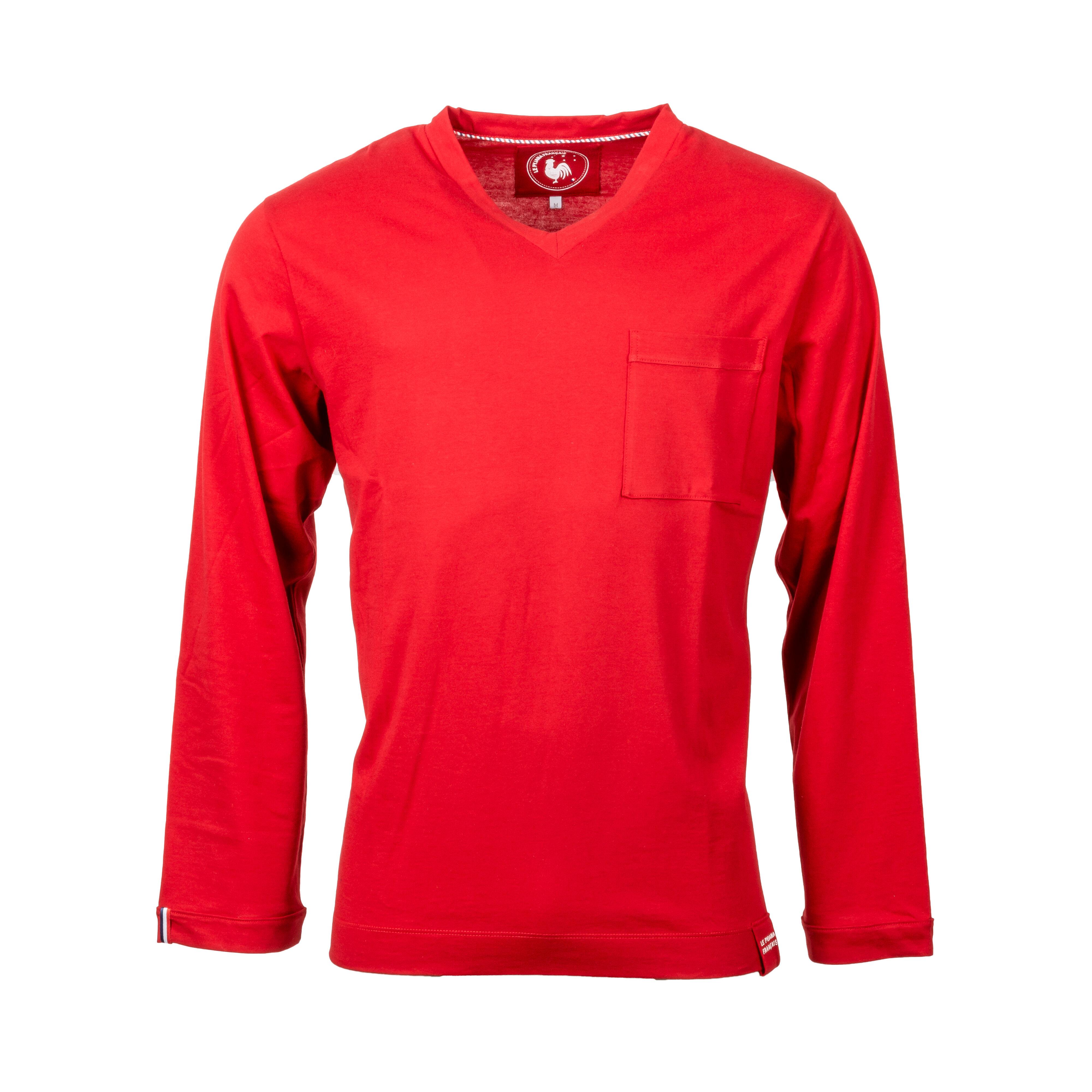 Le Pyjama Français Tee-shirt de pyjama manches longues Made in France Le Pyjama Français en coton rouge - ROUGE - XL