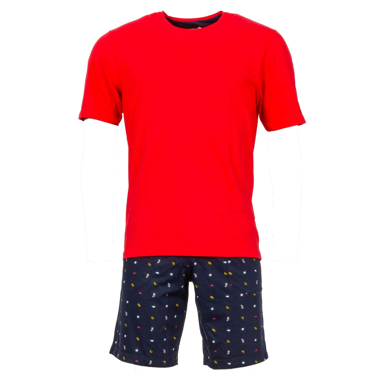 Eminence Pyjama court Eminence en coton : tee-shirt manches courtes col rond en coton rouge et short à motifs petit déjeuner en coton bleu marine - ROUGE - M