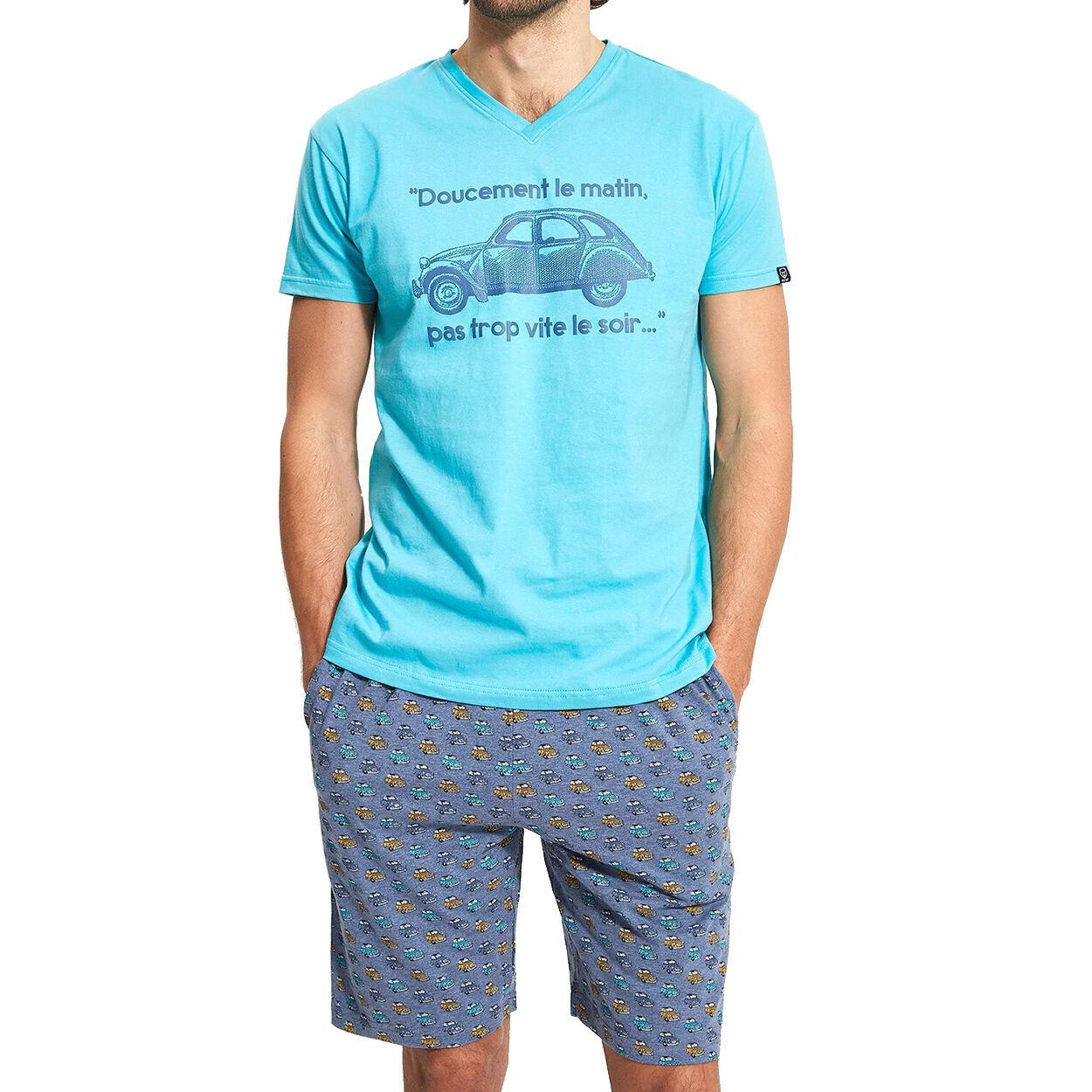 Arthur Pyjama court Arthur 2CVH en coton bio : tee-shirt col V bleu azur floqué et short bleu denim imprimé voitures - BLEU AZUR -