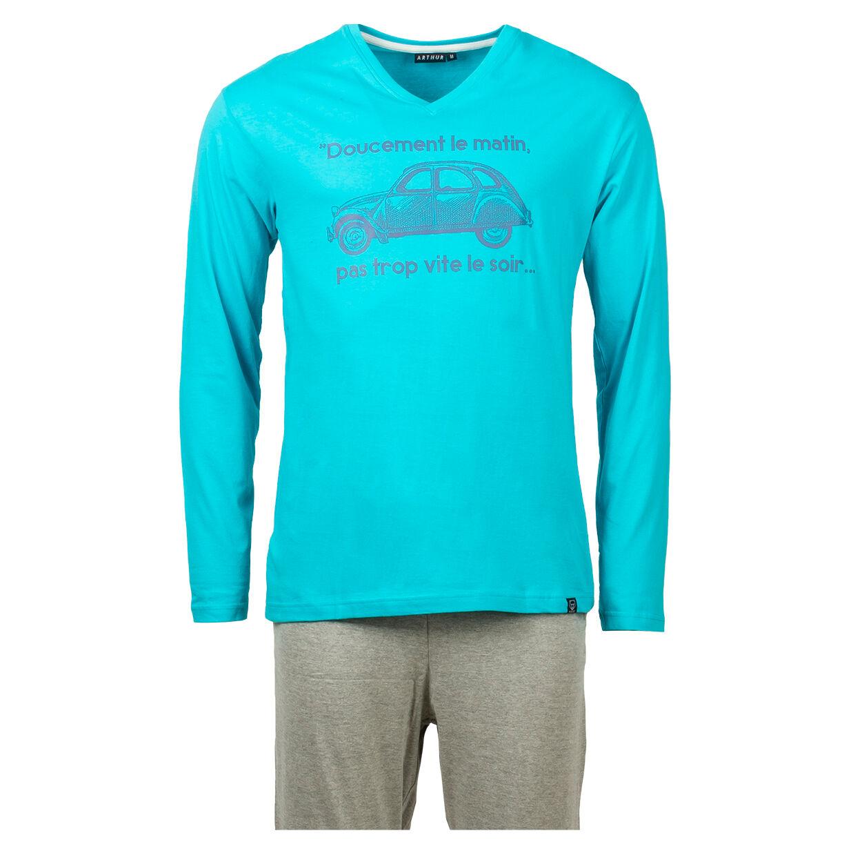 Arthur Pyjama court Arthur Ulysse en coton bio : tee-shirt manches longues col V bleu azur floqué et pantalon gris - GRIS -