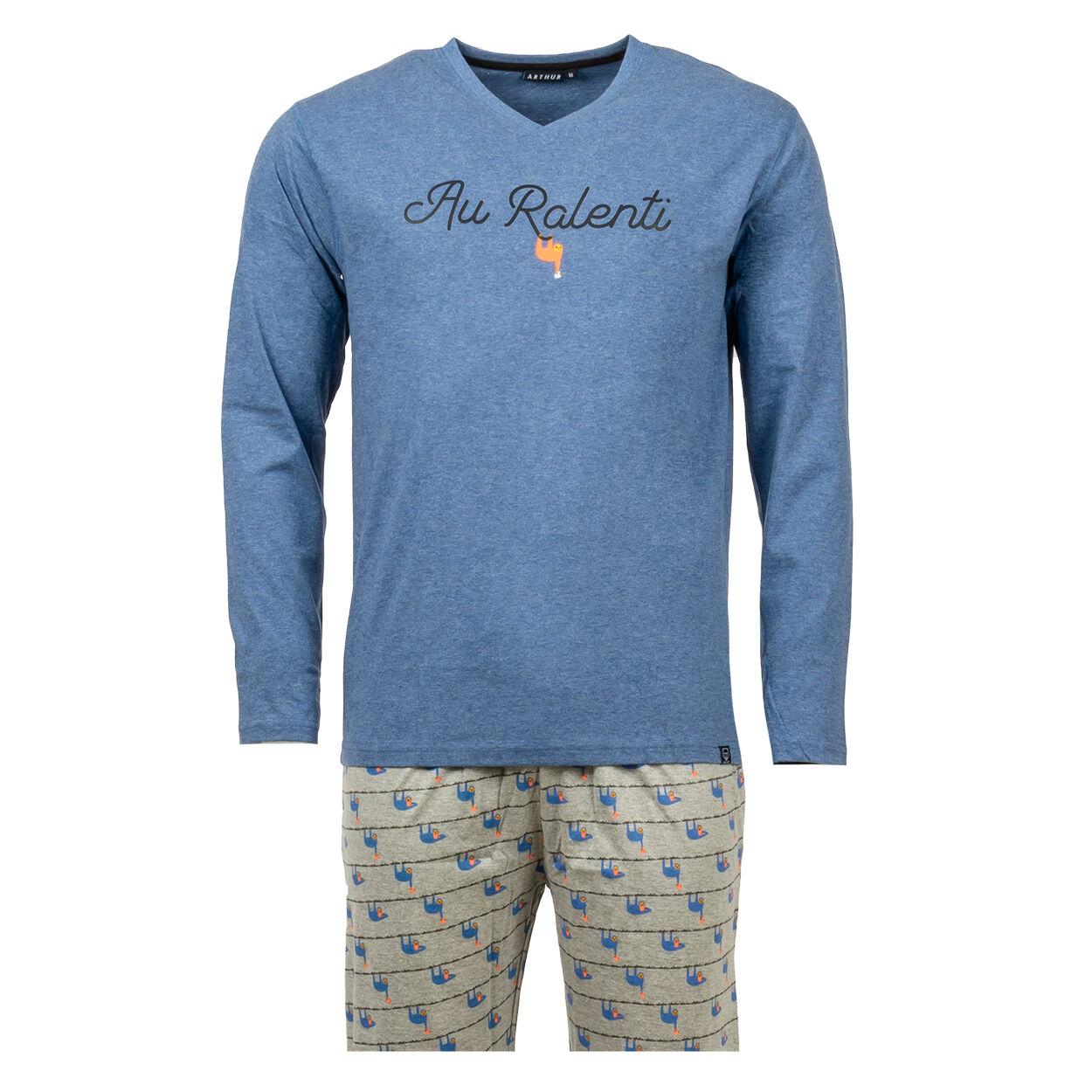 Arthur Pyjama long Arthur Ralenti en coton bio : tee-shirt manches longues col V bleu chiné floqué et pantalon gris imprimé de paresseux bleus - GRIS BLEU - L
